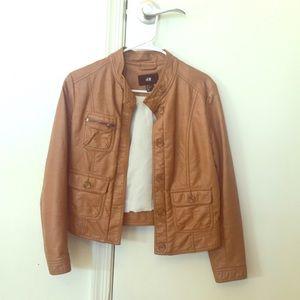 H&M Tan Faux Leather Jacket (Size 6)